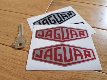 "Jaguar Lozenge Silver Stickers 4"" Pair. Black or Red."