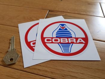 "AC Cobra Circular Stickers. 2"", 4"", 5.25"", or 6"" Pair."