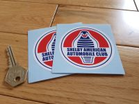"Shelby American Automobile Club Circular Stickers. 3"" Pair."