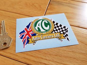 "AC Auto Carriers Ltd. Flag & Scroll Sticker. 4""."