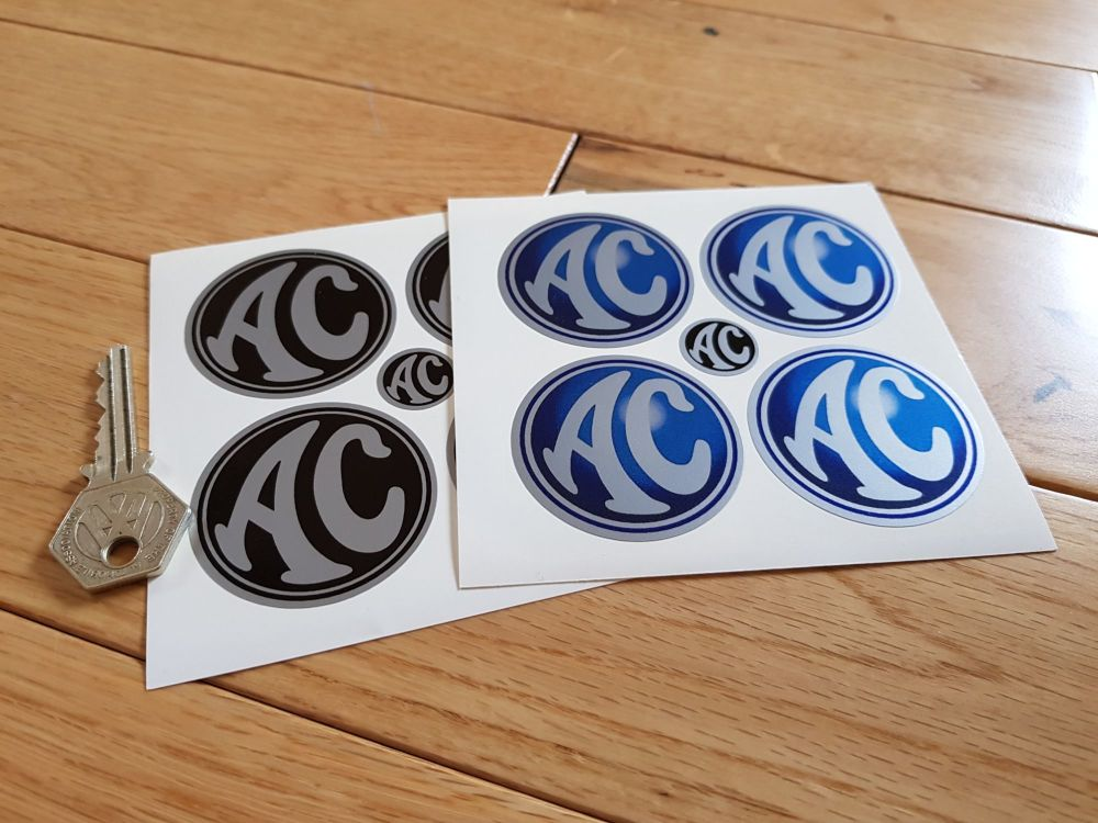 AC Cars Wheel Centre Stickers. Set of 4. 50mm or 60mm.