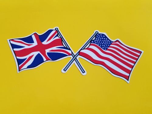 Union Jack & USA Stars & Stripes Crossed Wavy Flags Sticker. Various Sizes.