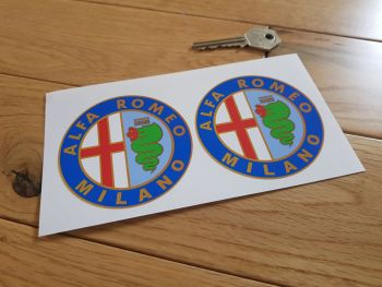 "Alfa Romeo Milano Circular Stickers. 2"", 3"", 5"", or 6"" Pair."
