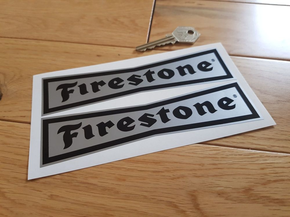 """Firestone 'Dicky Bow' Black & Silver Stickers. 6"""" Pair."""