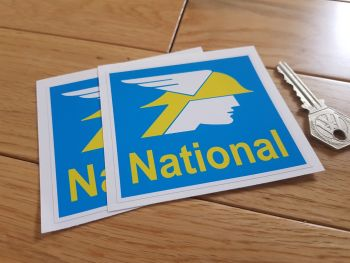 "National Benzole Square Stickers. 3.5"" Pair."