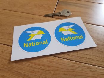 "National Benzole Round Stickers. 2.5"" Pair."