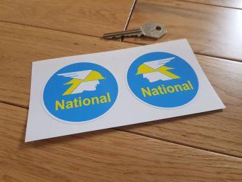 "National Benzole Round Stickers. 2.5"" Pair."