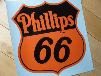 "Phillips 66 Black & Orange Shield Shaped Sticker. 12""."