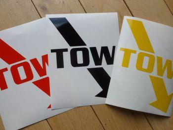 """Large TOW & Diagonal Arrow Racing Car Stickers. 5.5"""" x 7"""" Pair."""