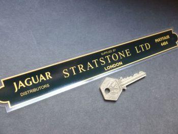 """Stratstone Ltd London Jaguar Dealer Shaped Window Sticker. 9.5""""."""