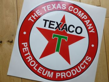 "Texaco Petroleum Products Circular Petrol Pump Sticker. 5"", 6"", or 8""."