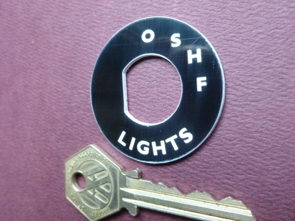 Lucas Style Light Switch Escutcheon Laser Cut Black & White Composite Badge. Jaguar Mk 2 etc  43mm.