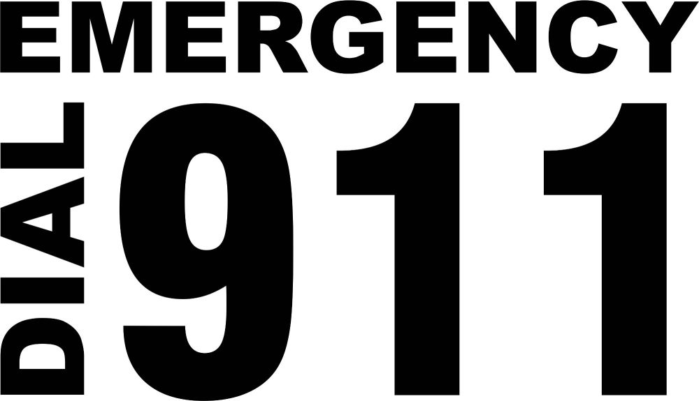 American Police Car Emergency Dial 911 Cut Text Stickers.
