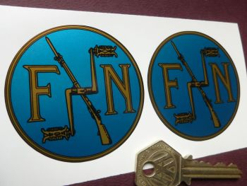 FN Gold & Black/Blue Stickers. 60mm Pair.