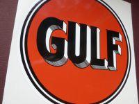 """Gulf Old Style Black & Orange Hatched Shading Logo Sticker. 12""""."""