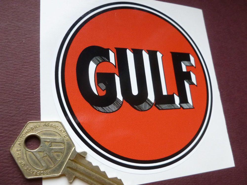 """Gulf Old Style Black & Orange Hatched Shading Logo Sticker. 4"""" or 6""""."""
