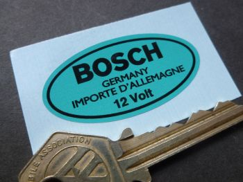 Bosch Germany 12 Volt Oval Blue Sticker. 40mm or 48mm.