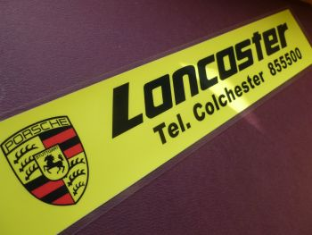 "Lancaster Colchester Dealers Window Sticker. 10.5""."