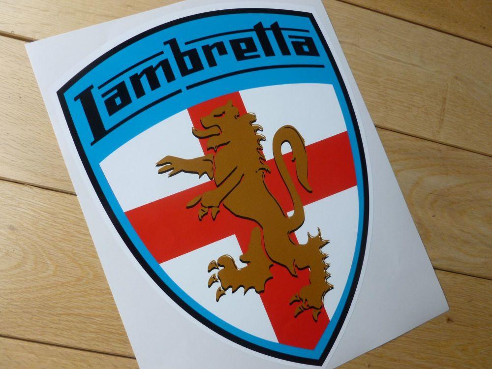 """Lambretta Coloured  Blue Surround Shield Sticker. 16""""."""