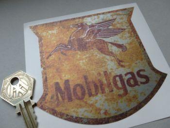 "Mobilgas Rusty Style Shield Shaped Sticker. 4""."