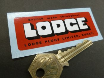 "Lodge British Made Throughout Rugby Sticker. 3.25""."