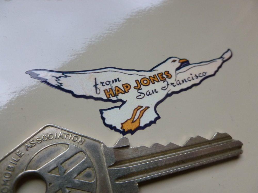 Hap Jones San Francisco Seagull Style Dealer Sticker. 68mm.