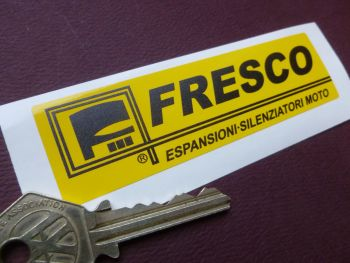 "Fresco Black & Yellow Oblong Sticker. 4""."