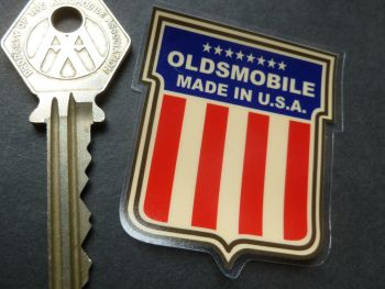 "Oldsmobile Made In U.S.A Shield Shaped Window Sticker. 2""."