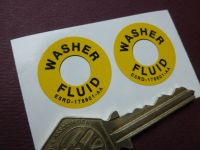 Washer Fluid Bottle Stickers. 28mm Pair.