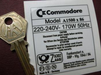 Commodore A1500 x 86 Computer Label Sticker. 60mm.