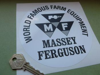 "Massey Ferguson Black & White or Clear UV Print Circular Sticker - 6"" or 8"""