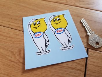 "Esso Oil Drip Boy Salute Stickers. 3"" Pair."