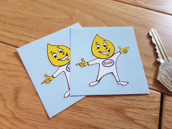 "Esso Oil Drip Boy Welcome Stickers. 2"" or 4"" Pair."