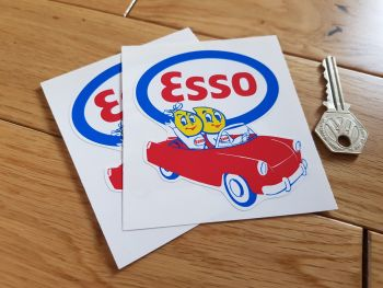 "Esso Oil Drip Couple in Car Stickers. 4"" or 7"" Pair."