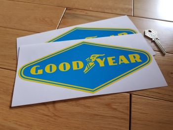 "Goodyear Yellow on Light Blue Diamond Stickers. 9"" Pair."