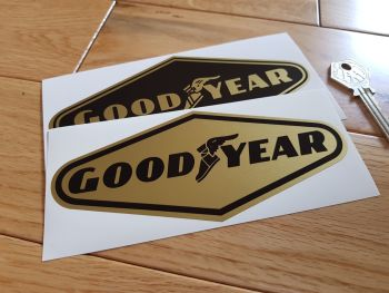 "Goodyear Black & Gold Diamond Stickers. 6"", 8"", or 9"" Pair."