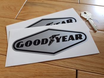 "Goodyear Black on Silver Diamond Stickers. 3"", 6"", or 9"" Pair."