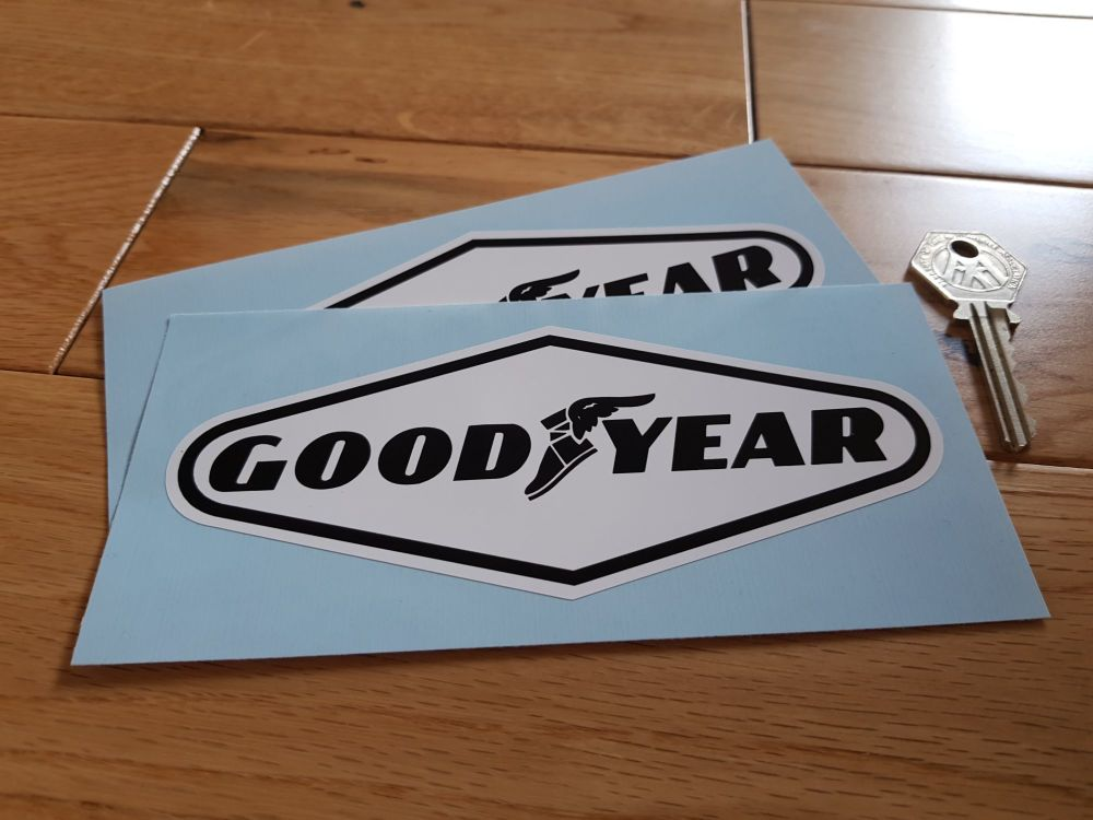 "Goodyear Black on White Diamond Stickers. 6"", 7"", 8"", 9"", 10"" or 12"" Pair."