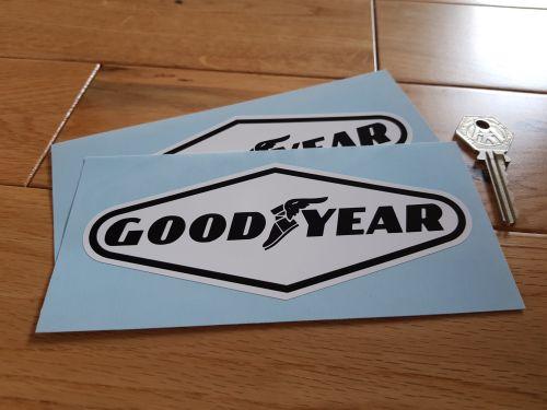 Goodyear Black on White Diamond Stickers. 6