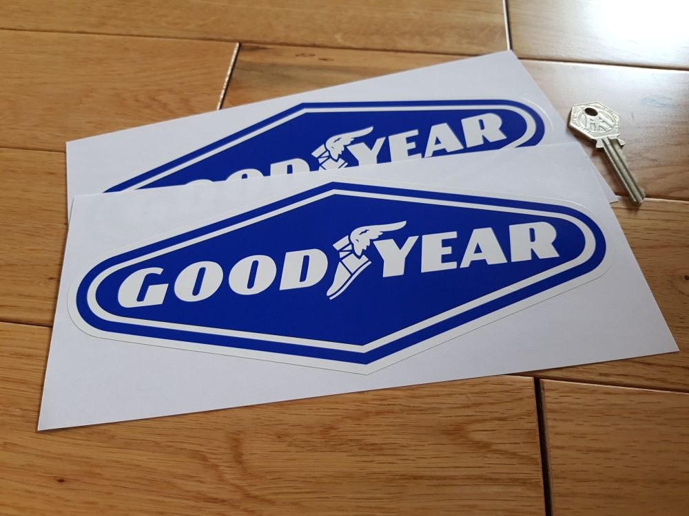 "Goodyear White on Blue Diamond Stickers. 9"" Pair."