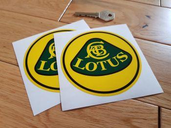 """Lotus Black, Yellow & Green Circular Logo Stickers. 4"""" Pair."""