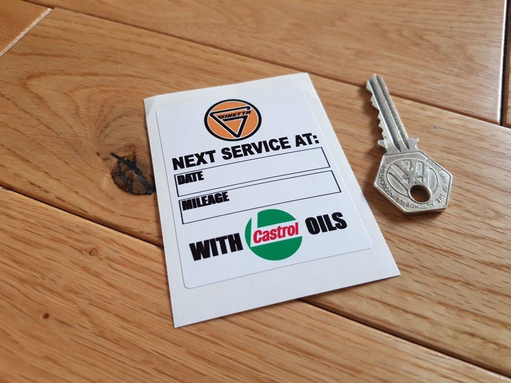 "Ginetta Service with Castrol Oils Sticker. 3""."
