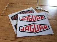 "Jaguar Lozenge Black Outline Stickers 4"". Silver or White Pair."