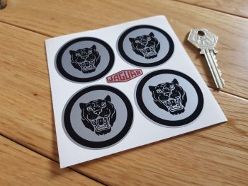 Jaguar Wheel Centre Stickers. Growlers. Black on Silver. Set of 4. 50mm.