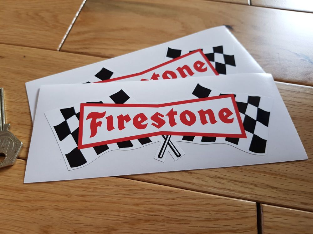 """Firestone Chequered Flag Stickers. 3"""", 6"""" or 10"""" Pair."""