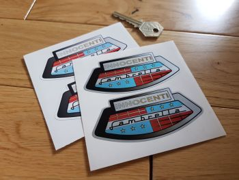 "Lambretta Innocenti Motorcycle/Helmet Stickers. 3.5"" Pair."