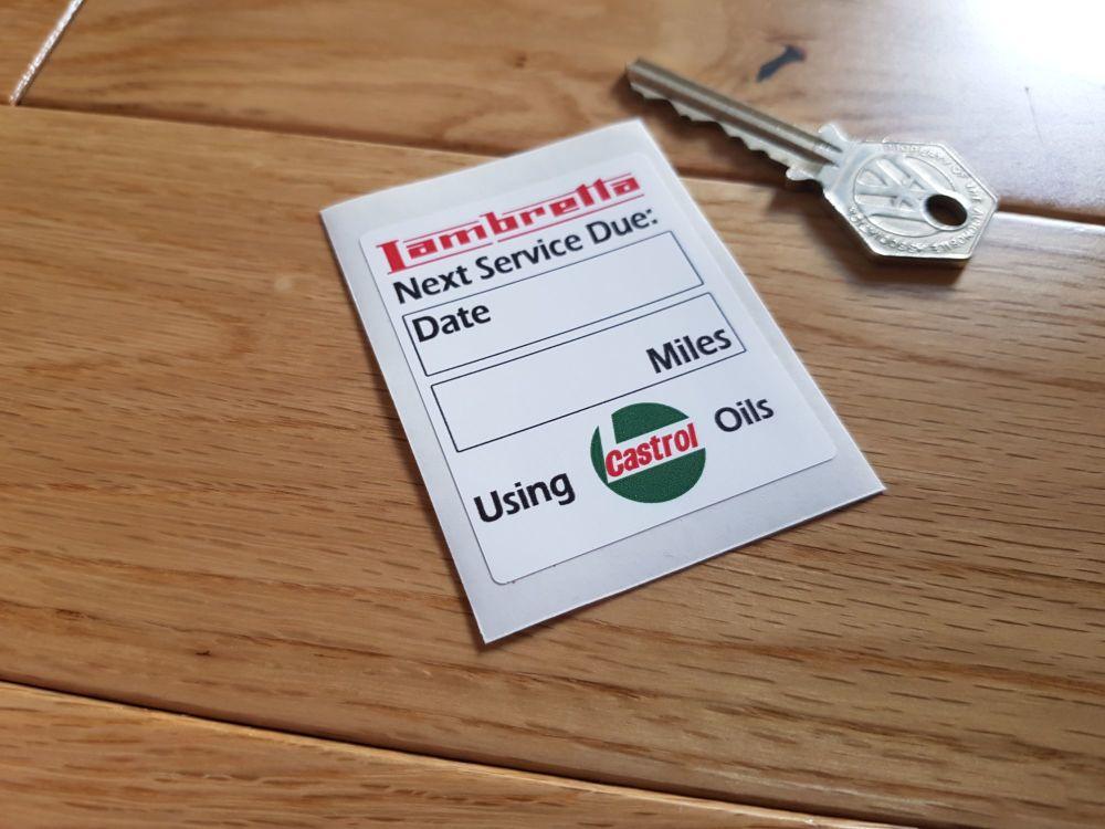 """Lambretta Castrol Oils Service Sticker. 2.25""""."""