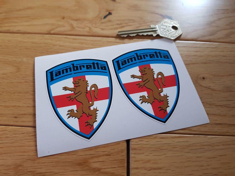 """Lambretta Coloured Blue Surround Shield Stickers. 3"""" Pair."""