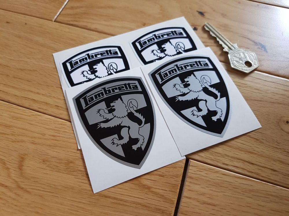 Lambretta Shield Stickers Black & Silver/White. 3