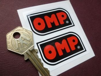 "OMP Black, White, & Red Shaped Stickers 2"" Pair."